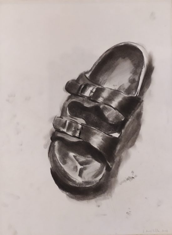 Sergio Angilella - Shoes (01) - Charcoal on paper - 38 x50 cm