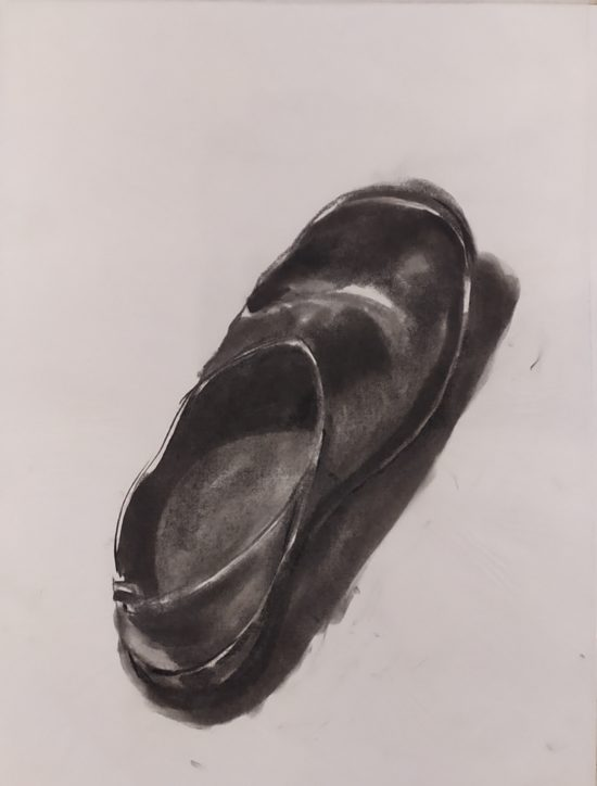 Sergio Angilella - Shoes 02 - Charcoal on paper - 38 x50 cm