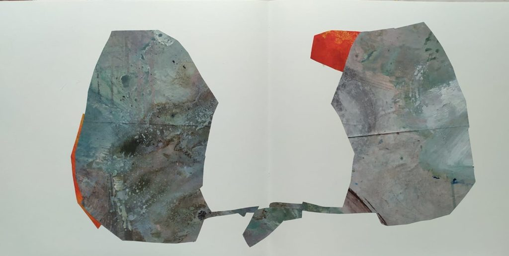 Federica bartoli - Double page collage, no title with Red border - 30x60 cm